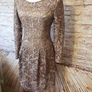 Donna Karan Cocktail Dress Taupe Lace 100% Silk